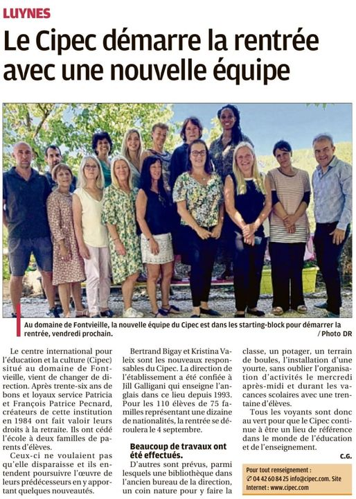 CIPEC International School - Article La Provence 30 août 2020 - Nouvelle direction